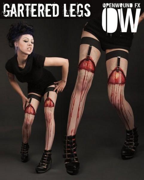 «Кровавые» чулочки от мастера спецэффектов. Слабонервным от просмотра лучше воздержаться.