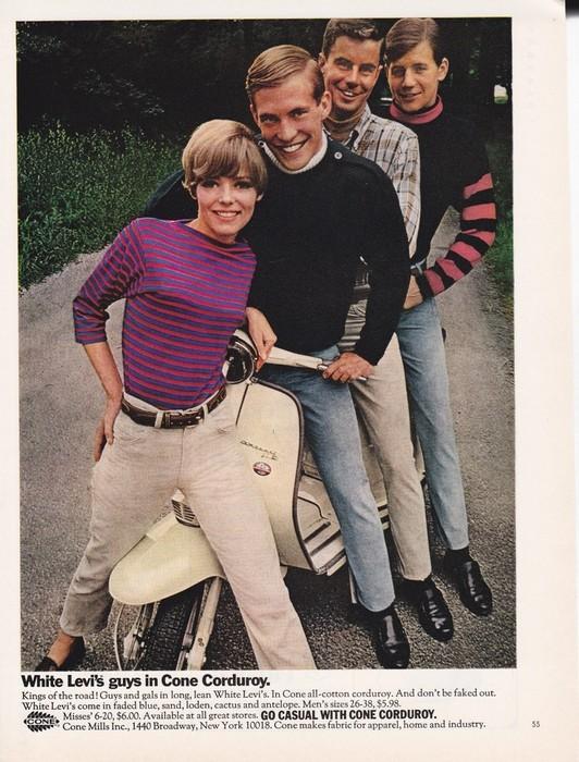 Модные джинсы начала 60-ых: всё уже и уже.