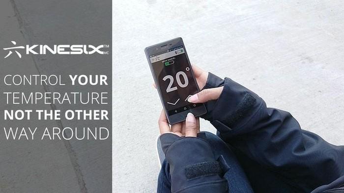 Приложение Kinesix всегда показывает две температуры: «за бортом» и в куртке.