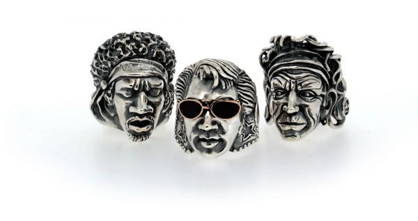 Скульптурные перстни с легендами рок-н-ролла