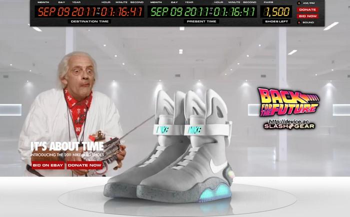 Версия кроссовок Nike MAG-2011. Тот же дизайн, обычные шнурки