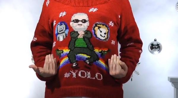 Вязаные свитеры Yolo с интернет хитами  уходящего года
