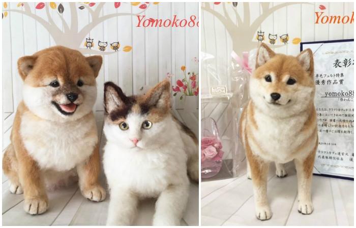 Почти настоящие собаки и кошки из валяной шерсти