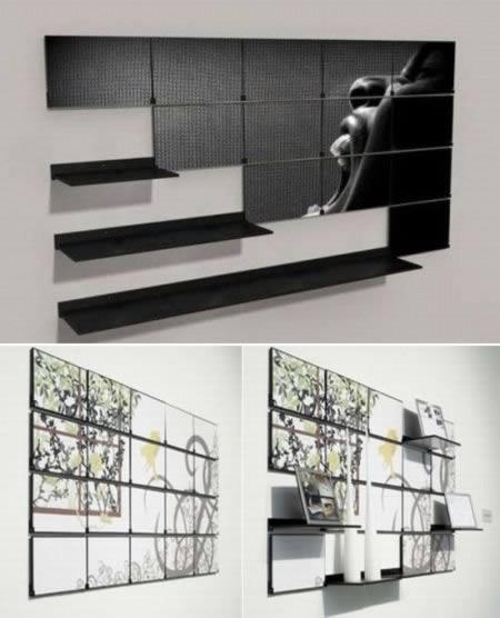 Los estantes están vacíos? Convertirlos en los paneles de pared elegantes. Diseñador: Mark Kinsley