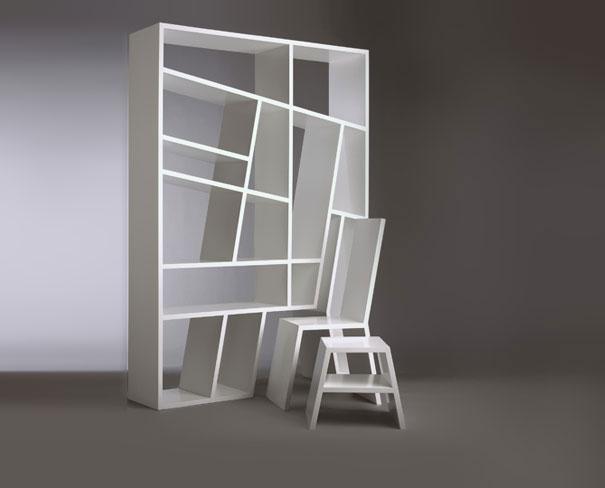 Стул и табуретка, которые с легкостью превращаются в хранилище книг от Charles Trevelyan