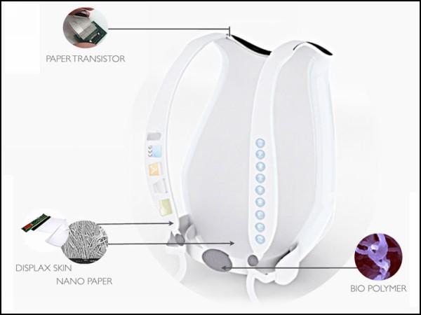 Эргономичный рюкзак оснащен сенсорным экраном и кнопками на лямках