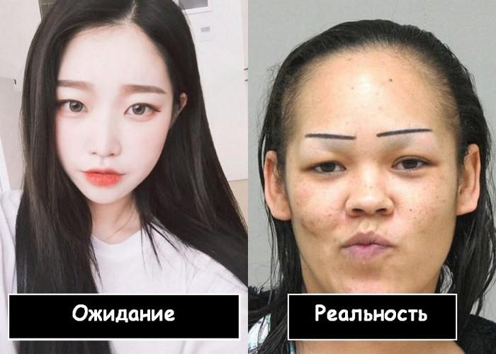 Но брови справа точно нарисованы каким-то ребёнком. Ещё и перманентным маркером.