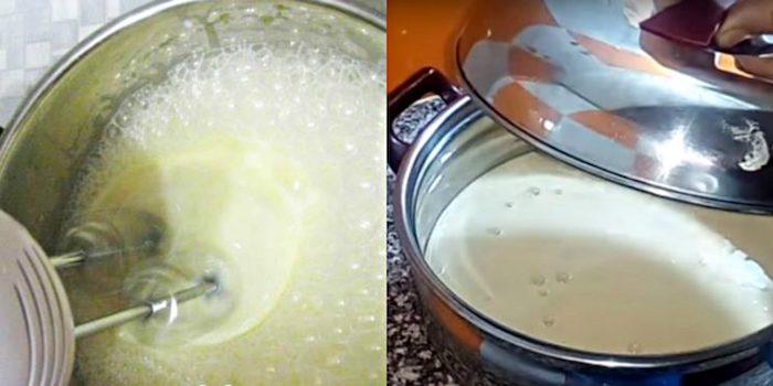 Взболтали миксером, чтобы тесто стало жидким.