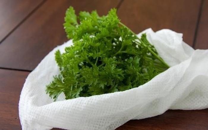 Храните пряные травы во влажном бумажном полотенце.
