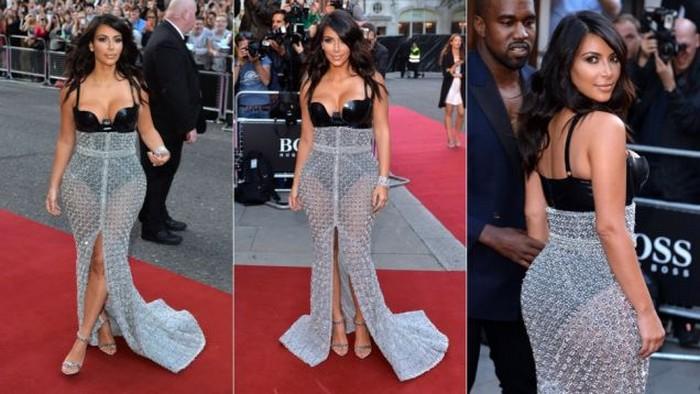 Ким Кардашьян в юбке из металлических цепей от Ralph & Russo