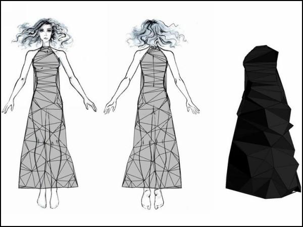 Как сделать платье из треугольников: эскиз...