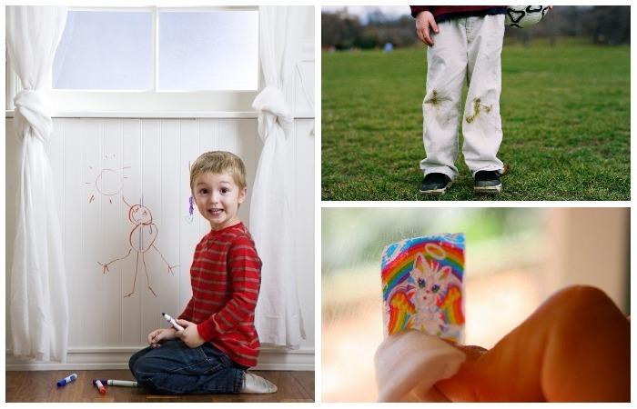 10 типичных «детских» пятен на одежде и мебели.