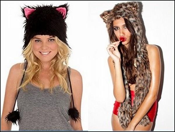 Черная шапка-ушанка из искусственного меха с кошачьими ушками розового...