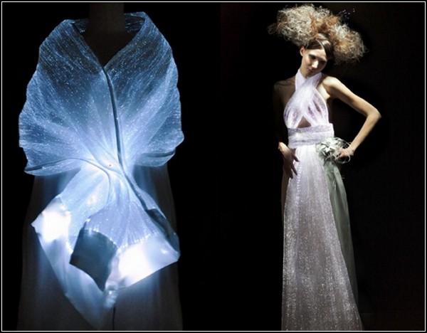 Красивая шаль из оптических волокон от LumiGram