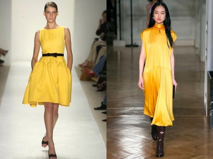 Жёлтые платья: от нежной пастели до почти апельсинового металлика.