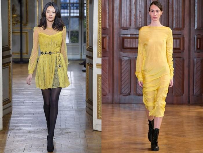 Не бойтесь сочетать простые чёрные аксессуары с ярким жёлтым платьем.