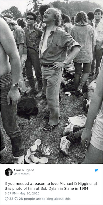 Хиггинс на концерте Боба Дилана в 1984-ом.
