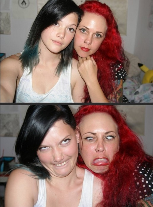 Участницы конкурса «Pretty girls making ugly faces»: милое семейное селфи.