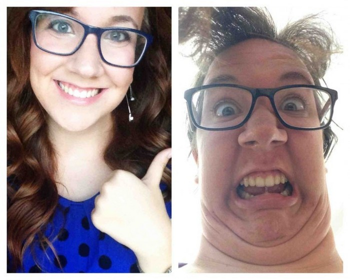 Участницы конкурса «Pretty girls making ugly faces»: красотка в очках.
