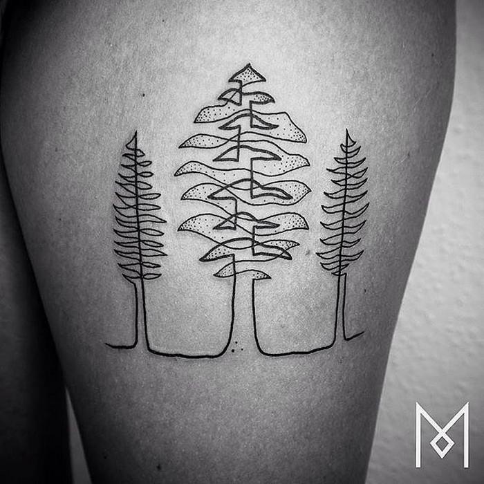 Простые татуировки Mo Ganji:  одна линия может превратиться в целый лес