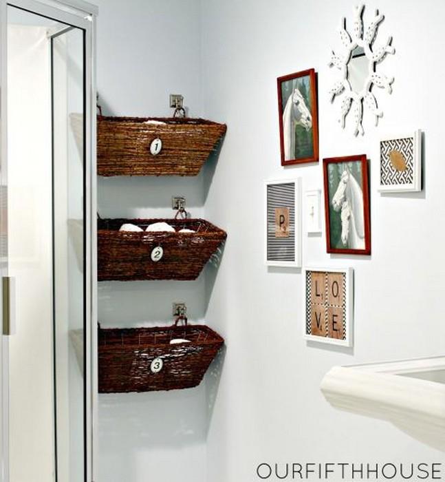 Корзины в ванной: оригинально и практично