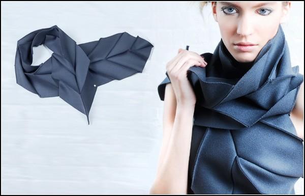 Мини-коллекция «математических» женских шарфов от Дианы Инг (Diana Eng): Miura Ori