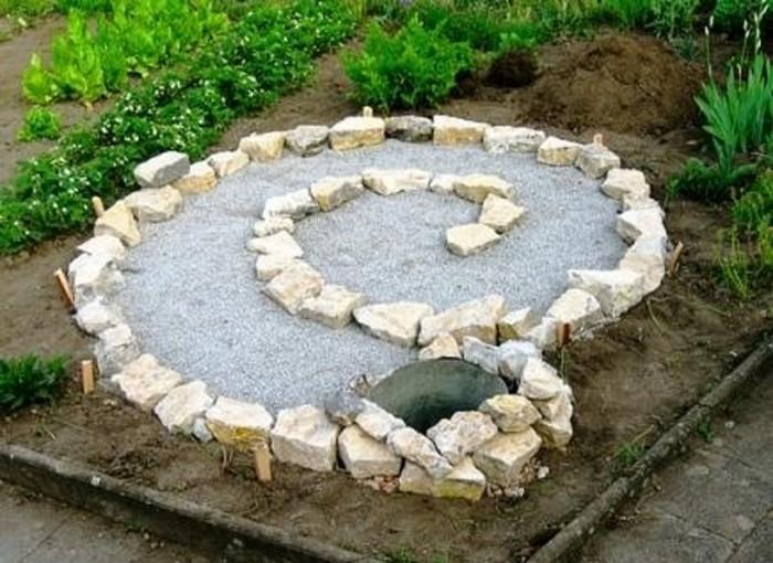 Выкладываем нашу спираль камнями или кирпичом.