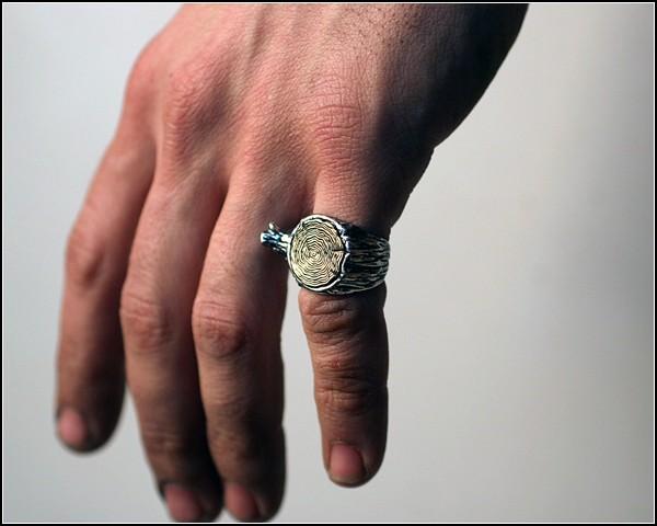 «Деревянное» кольцо с бронзой