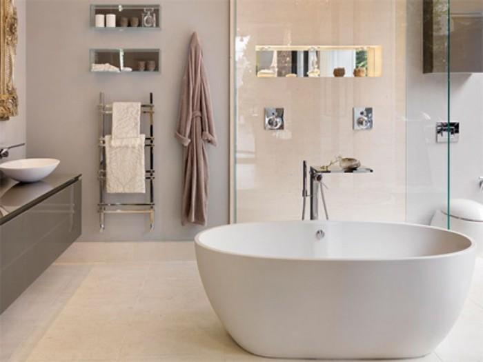 Спокойный оттенок для ванной комнаты.