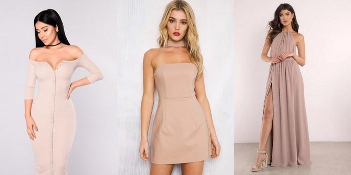 Платья в гамме «тауп» и «нюд»: от сексуальных мини до платьев в пол на выход.