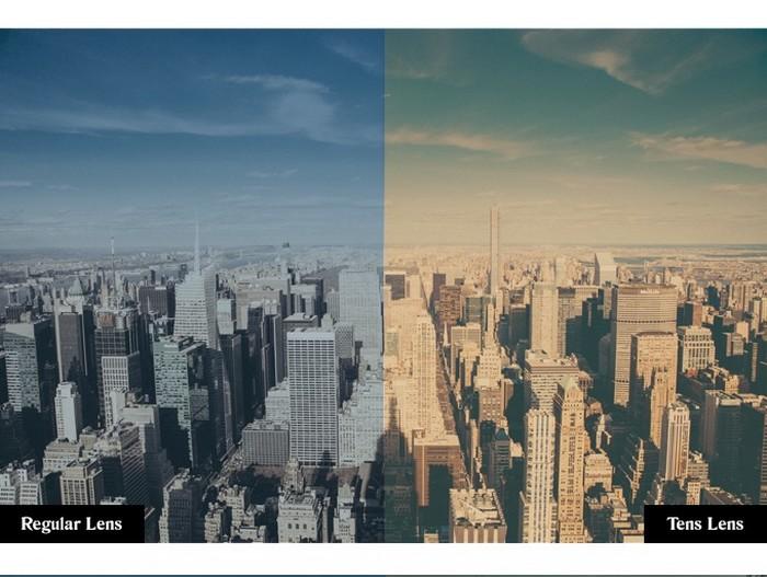 Мир сквозь стекла обычных солнцезащитных очков и сквозь стекла-фильтры Tens