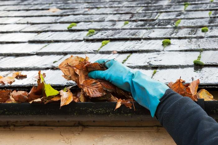 Требуют уборки только раз в год: желоб под крышей.