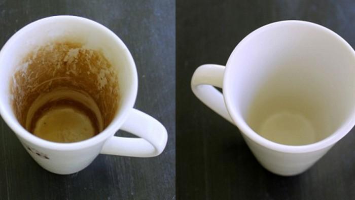 Как очистить чашки от кофейного налёта.