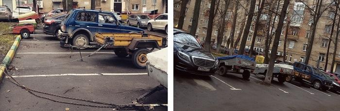 Прицепы на автостоянке/ Фото: pikabu.ru