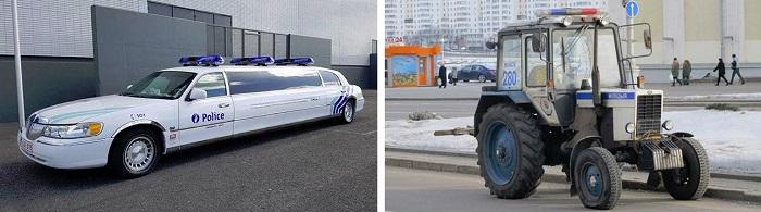 Бельгийский полицейский лимузин и белорусский трактор/ Фото: rhinocarhire.com