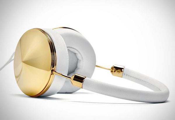 Женские наушники из белой кожи и желтого золота «Gold Layla Headphones»
