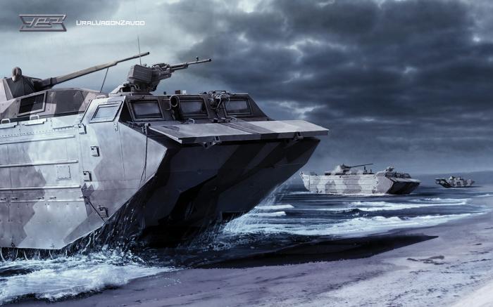 Тяжелый плавающий транспортер ПТС-4.