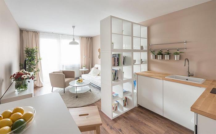 Как оформить квартиру площадью 28 кв.м.: уникальный интерьер в Словакии.