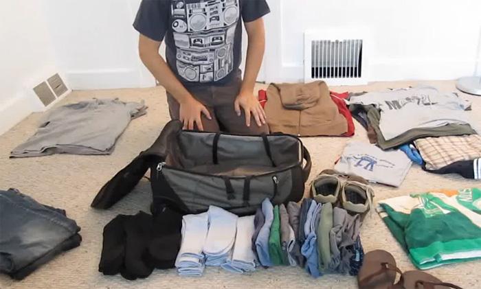Видео-лайфхак: как правильно упаковать чемодан