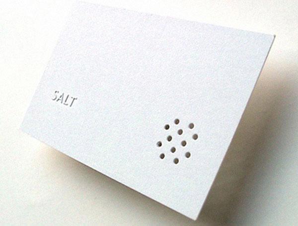 """Визитная карточка ресторана """"Соль"""", стилизованная под солонку."""