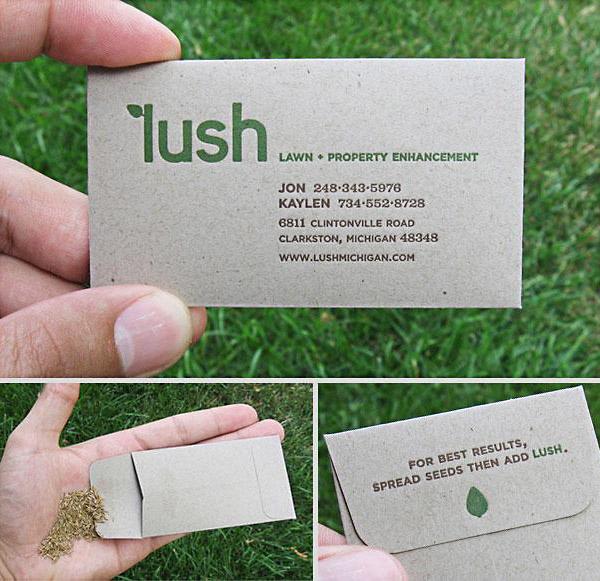 Визитная карточка в виде пакетика семян.