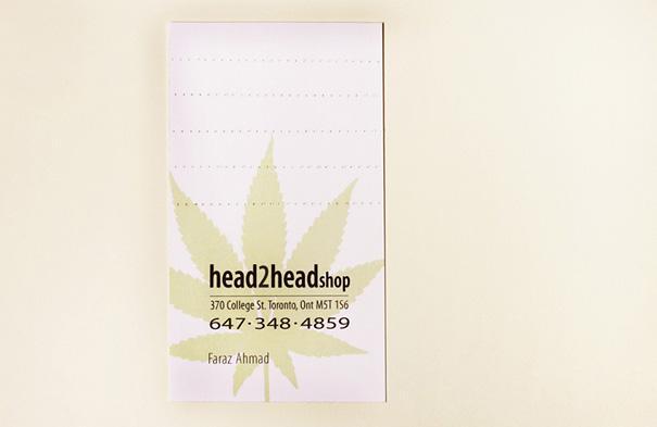 Визитная карточка в виде набора фильтров для косячка с марихуаной.