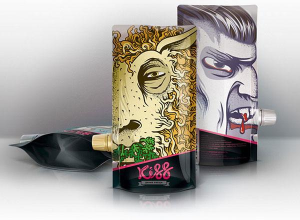 Упаковка для фруктовых и овощных пюре Kiss (Поцелуй). Дизайн Alexandra Istratova.