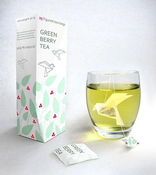 Ягодный зеленый чай. Дизайн Natalia Ponomareva.