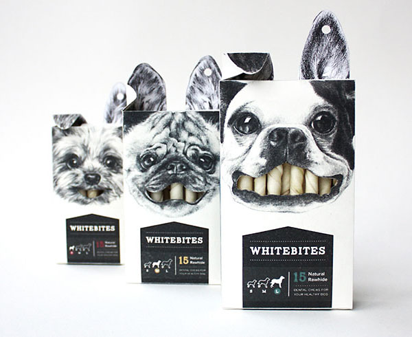 Снэки для собак Whitebites. Дизайн Cecilia Uhr.