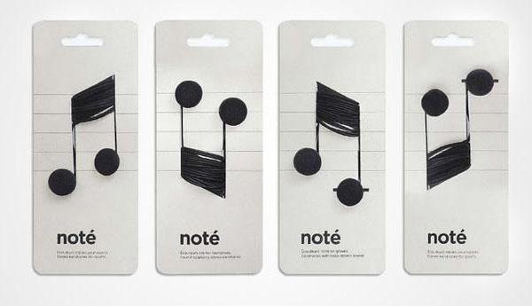 Упаковка для наушников в виде нот. Дизайн Corinne Pant.