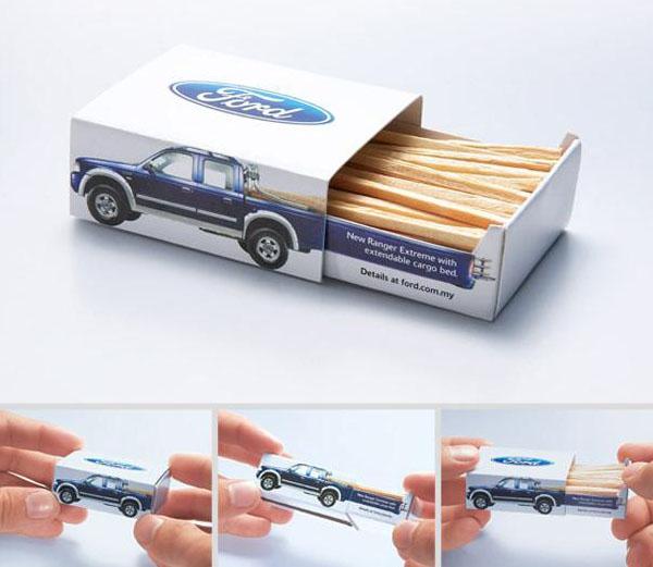 Спичечный коробок с рекламой Ford Ranger Extreme. Авторы: рекламное агентство JWT, Kuala Lumpur, Малайзия.