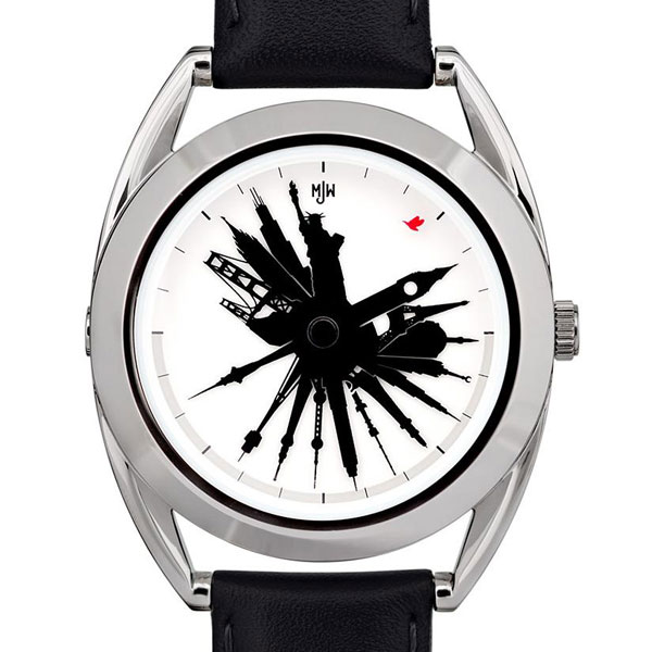 Наручные часы All Around The World со стрелками в виде всемирно известных достопримечательностей