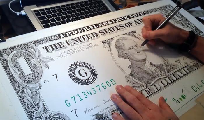 Художник нарисовал реалистичную копию долларовой купюры обычной гелевой ручкой и снял процесс на видео