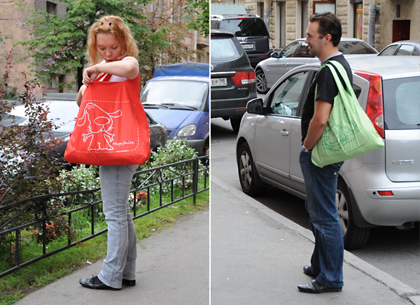 Вы сможете купить текстильную сумку за 400 - 500 рублей.